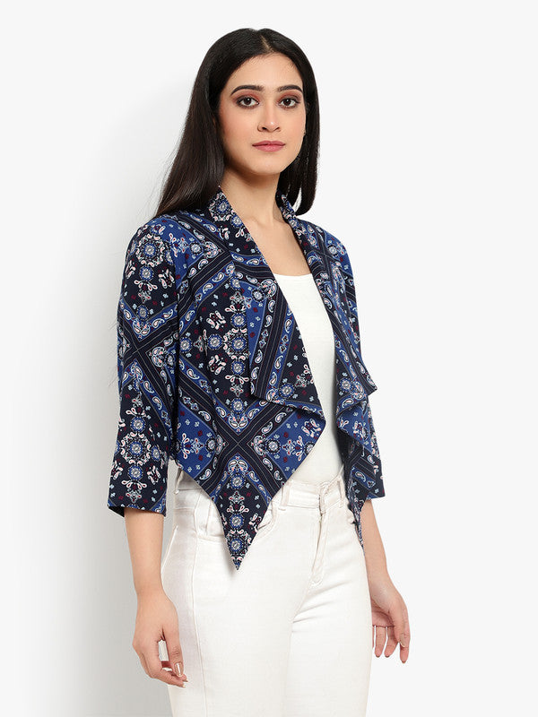 Ayaany Women Blue Waterfall Soft Cotton Shrug