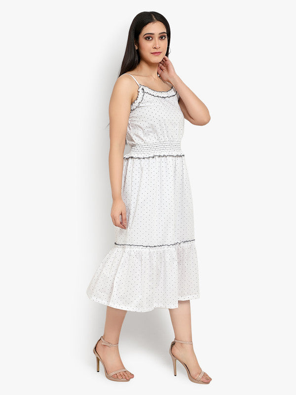 Ayaany Women White Cotton Lined Polka Frill Dress