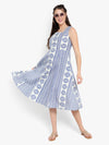 Ayaany Women Blue Cotton Casual Dress