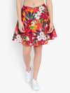 Ayaany Women Red Printed Floral Cotton Lined Short Skirt