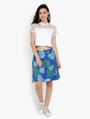 Ayaany Women Blue Printed Floral Cotton Lined Short Skirt