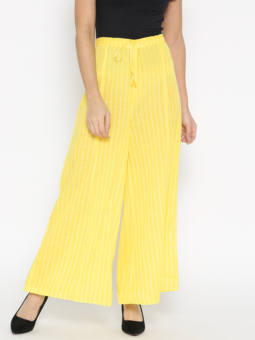 Ayaany Women Yellow & White Flared Striped Palazzo