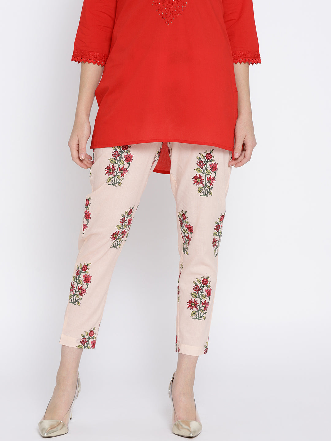 Ayaany Peach Floral Print Cotton Pant