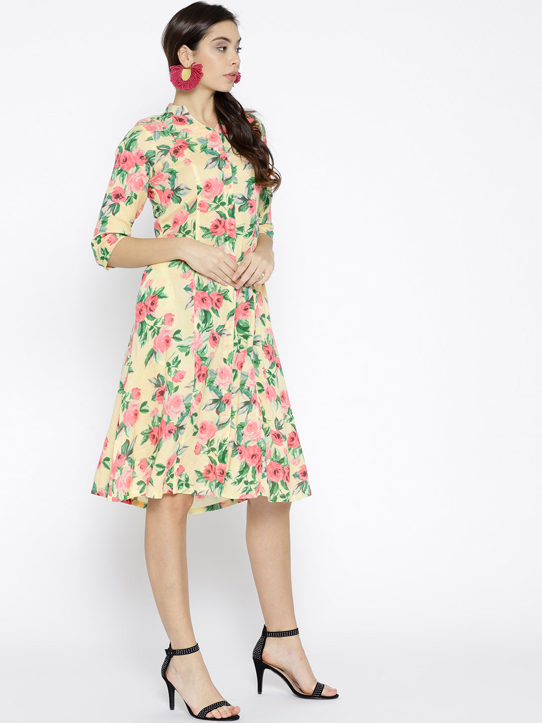 Ayaany Women Yellow & Coral Pink Printed A-line Dress