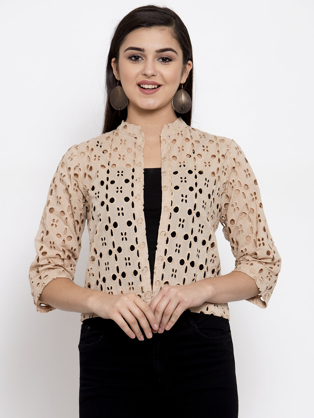 Ayaany Women Beige Smart Casual Shrug