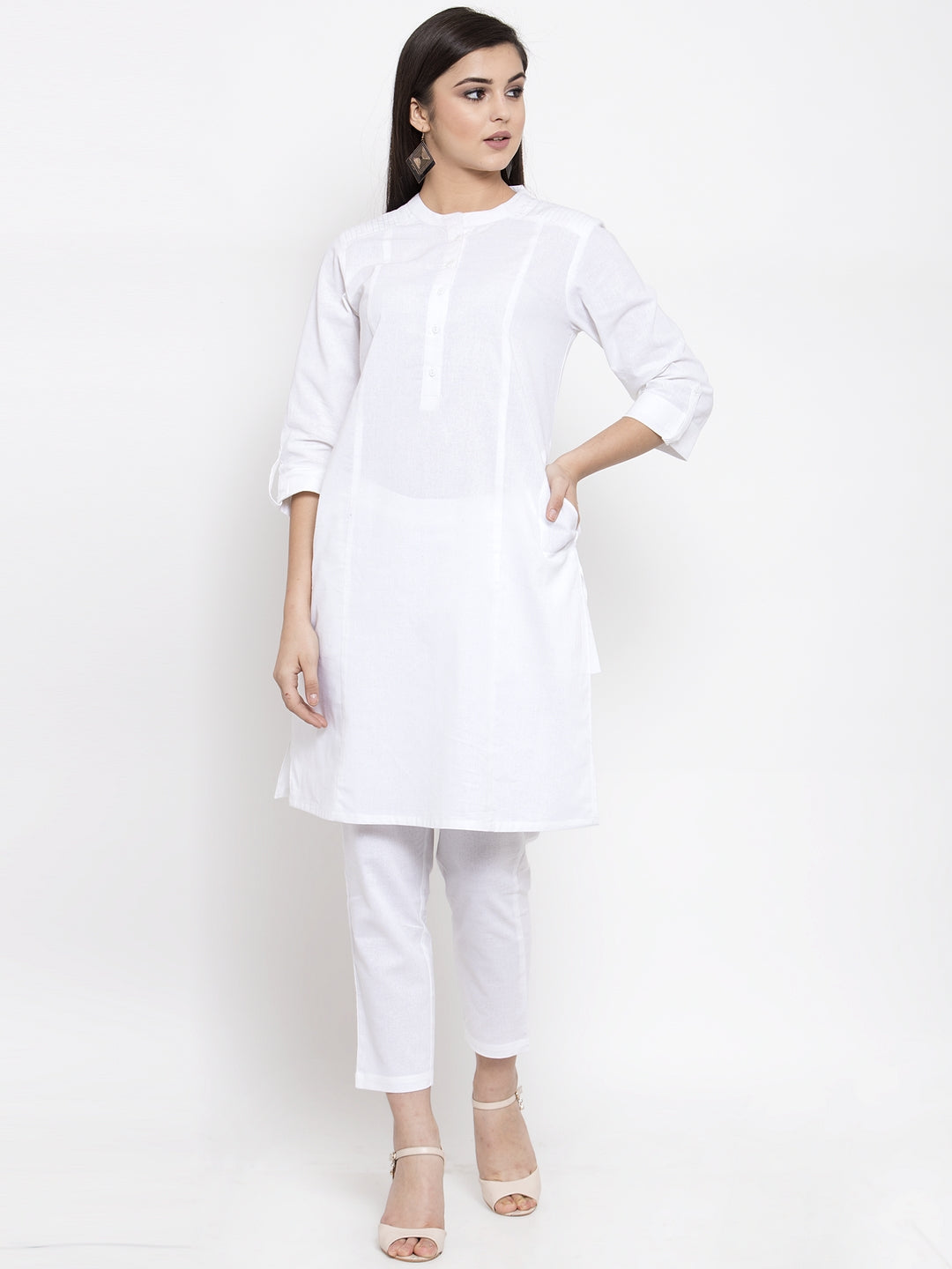 Ayaany Women White Casual Kurta Set with Pant