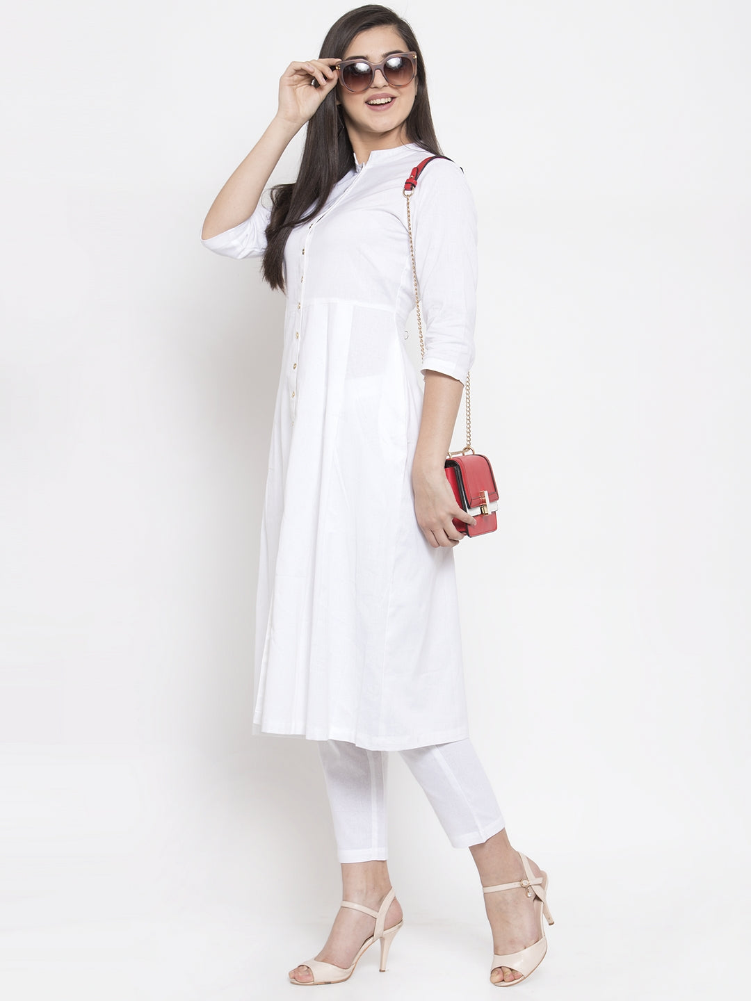 Ayaany Women White Casual Kurta Set Pure Cotton with Pant