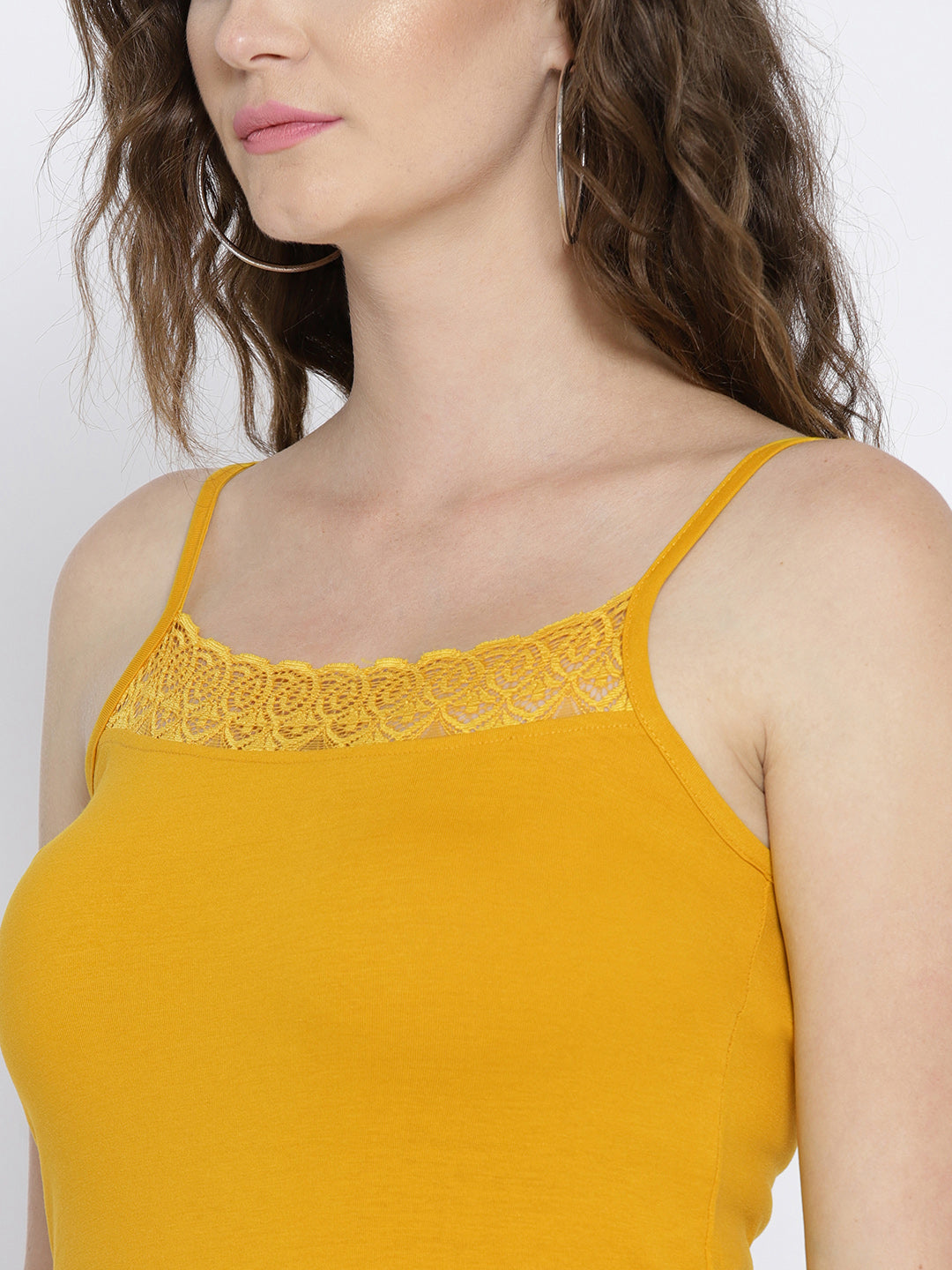 Ayaany Mustard Solid Pure Cotton Camisole