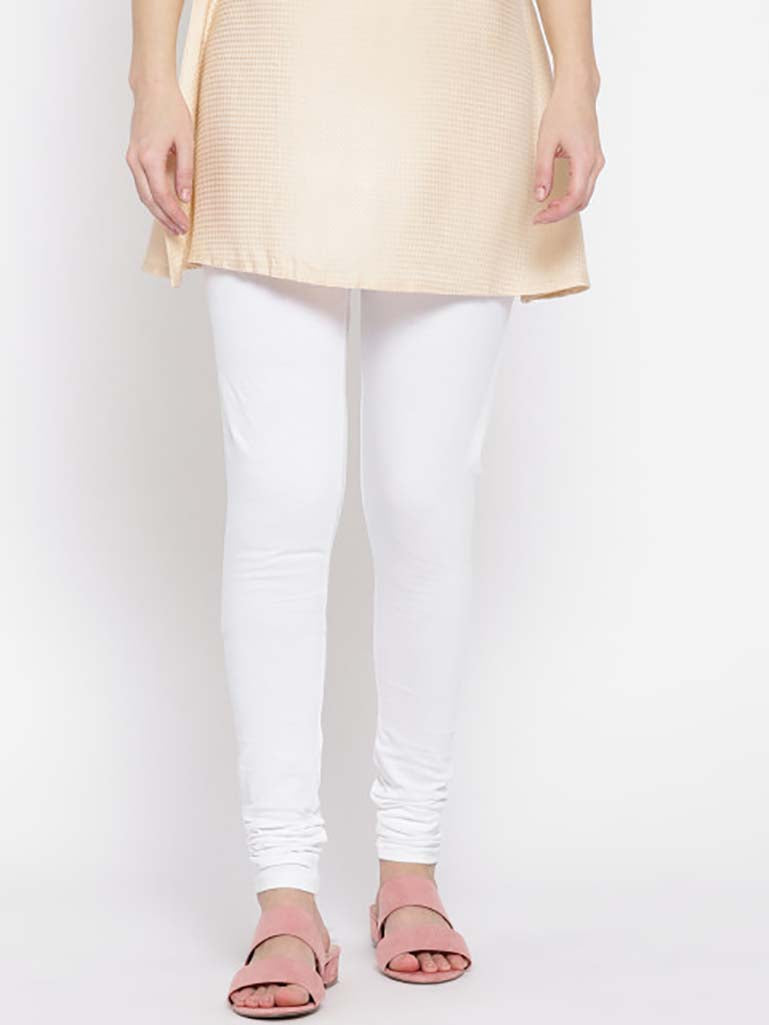 Solid Full Length Legging White