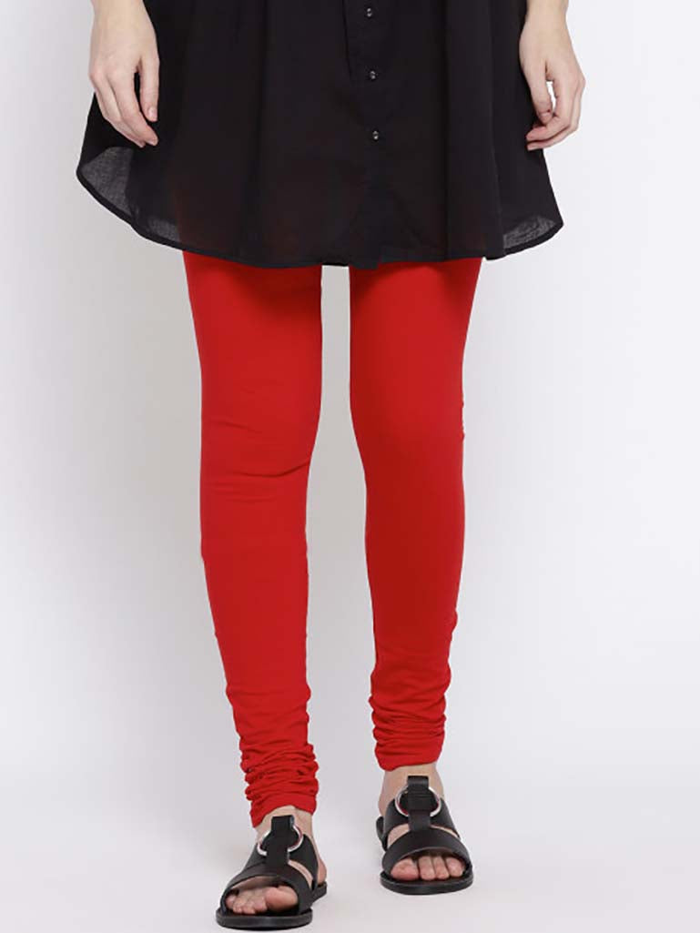 Solid Full Length Legging Dull Red