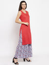 Ayaany Women Red Off sleeves Side Slit Kurta