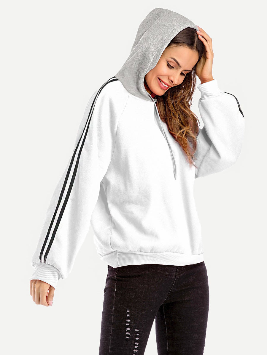 Contrast Striped Side Hoodie