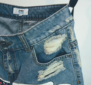 Zipper Fly Denim Short