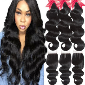 HD Body Wave Human Hair Bundles With Closure