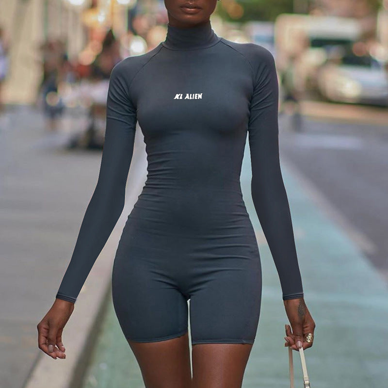 Reflective Letter Turtleneck Romper