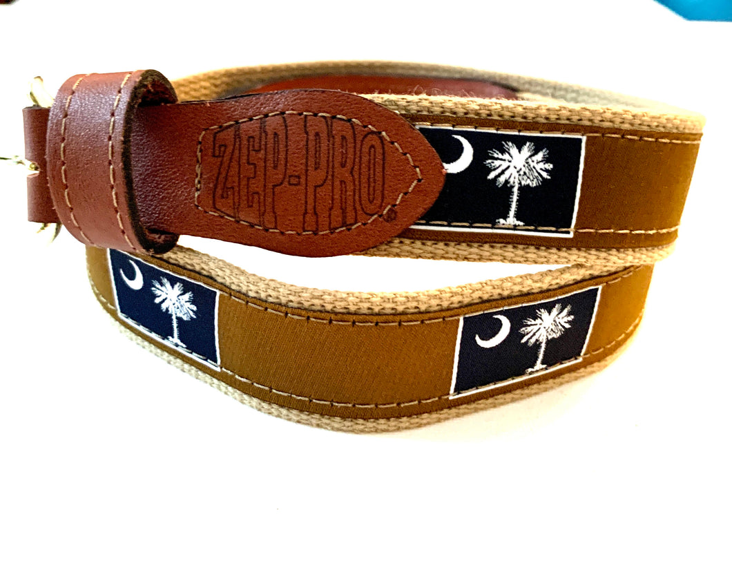 Belt Brown Palmetto Blue Square