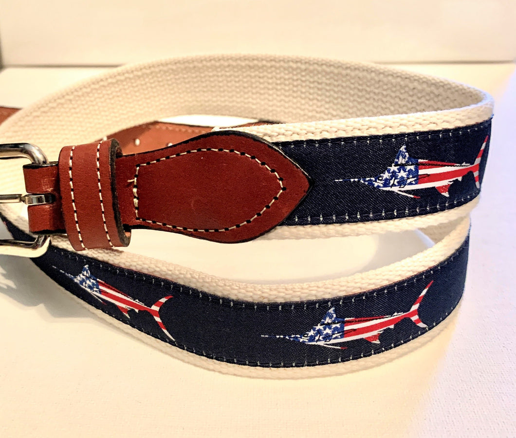 Belt USA Fish on Navy