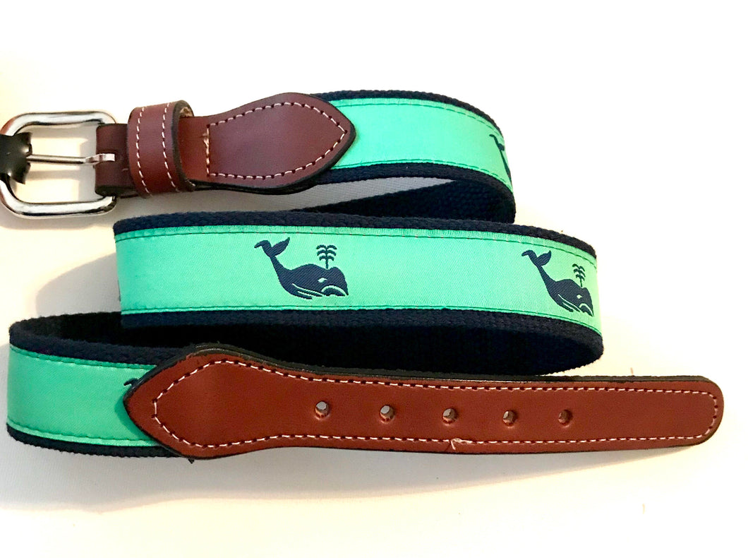 Belt Navy Whale on Green