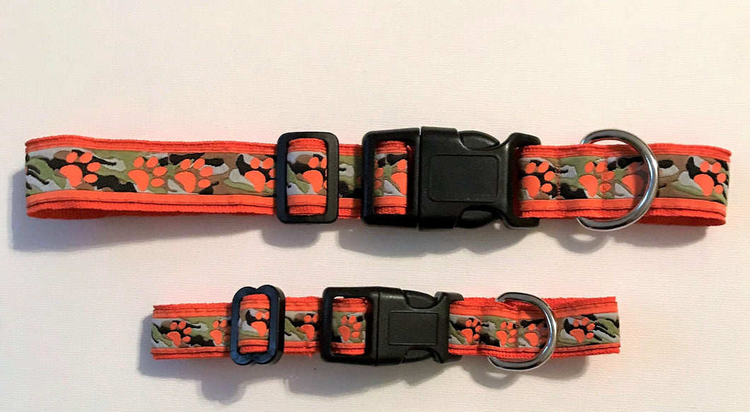 Dog Collar Orange Camo