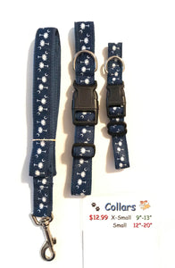 Dog Collar Navy with white tree
