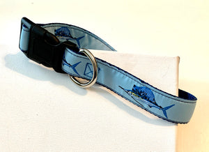 Dog Collar baby blue Sail fish