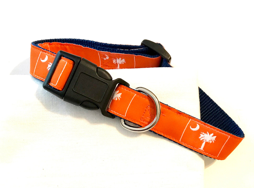 Dog Collar Orange Palmetto Tree