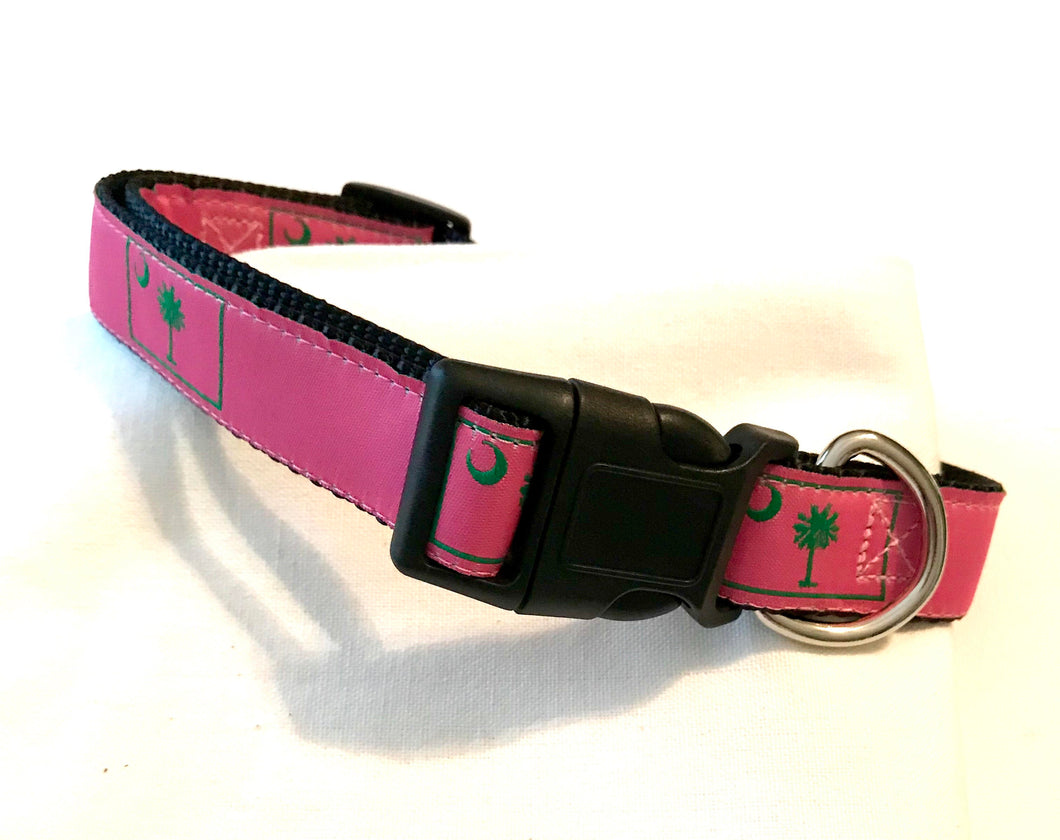 Dog Collar Pink Palmetto Tree