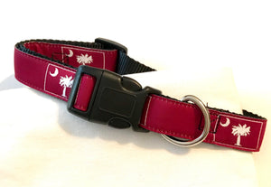 Dog Collar Burgundy Palmetto Tree