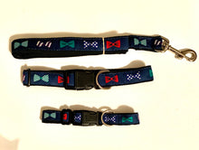 Load image into Gallery viewer, Dog Collar Bow Ties on Navy