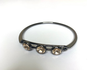 3-Stone Black Brass Bangle
