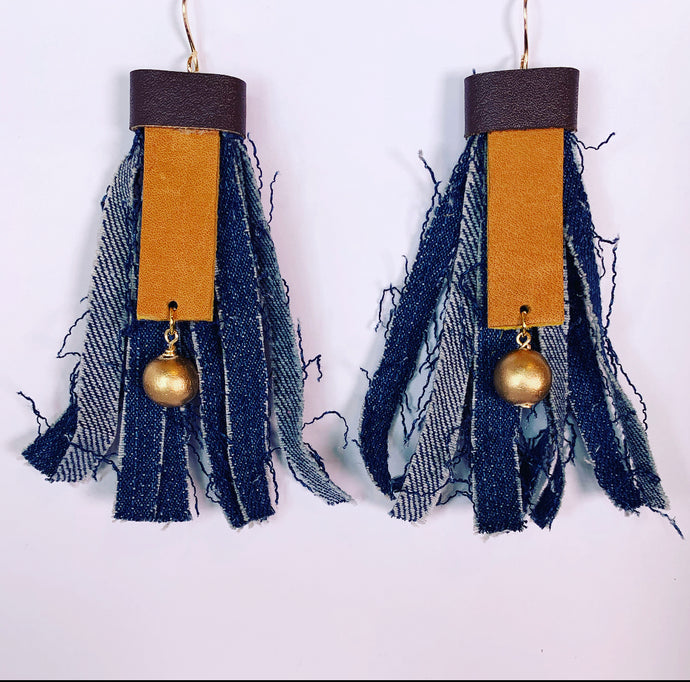 Denim Fringe Earrings