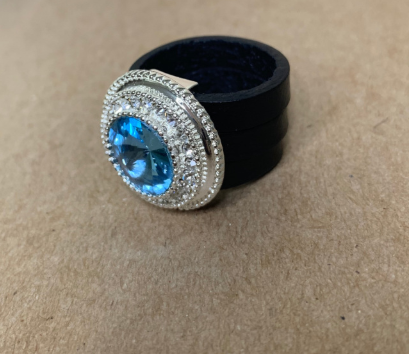 Aquamarine Leather Ring