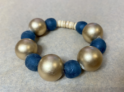 Metallic Gold & Teal Bracelet