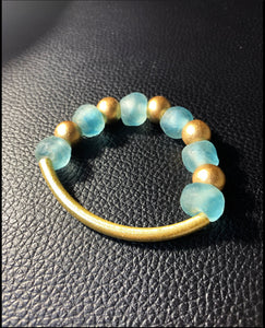 Blue Wave & Gold Bracelet