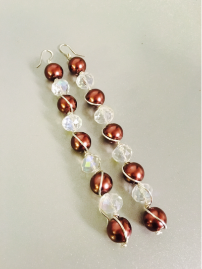 Pearl & Crystal Wire Dangles