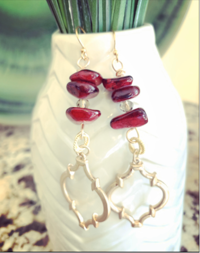Ruby Painted Agate Earrings