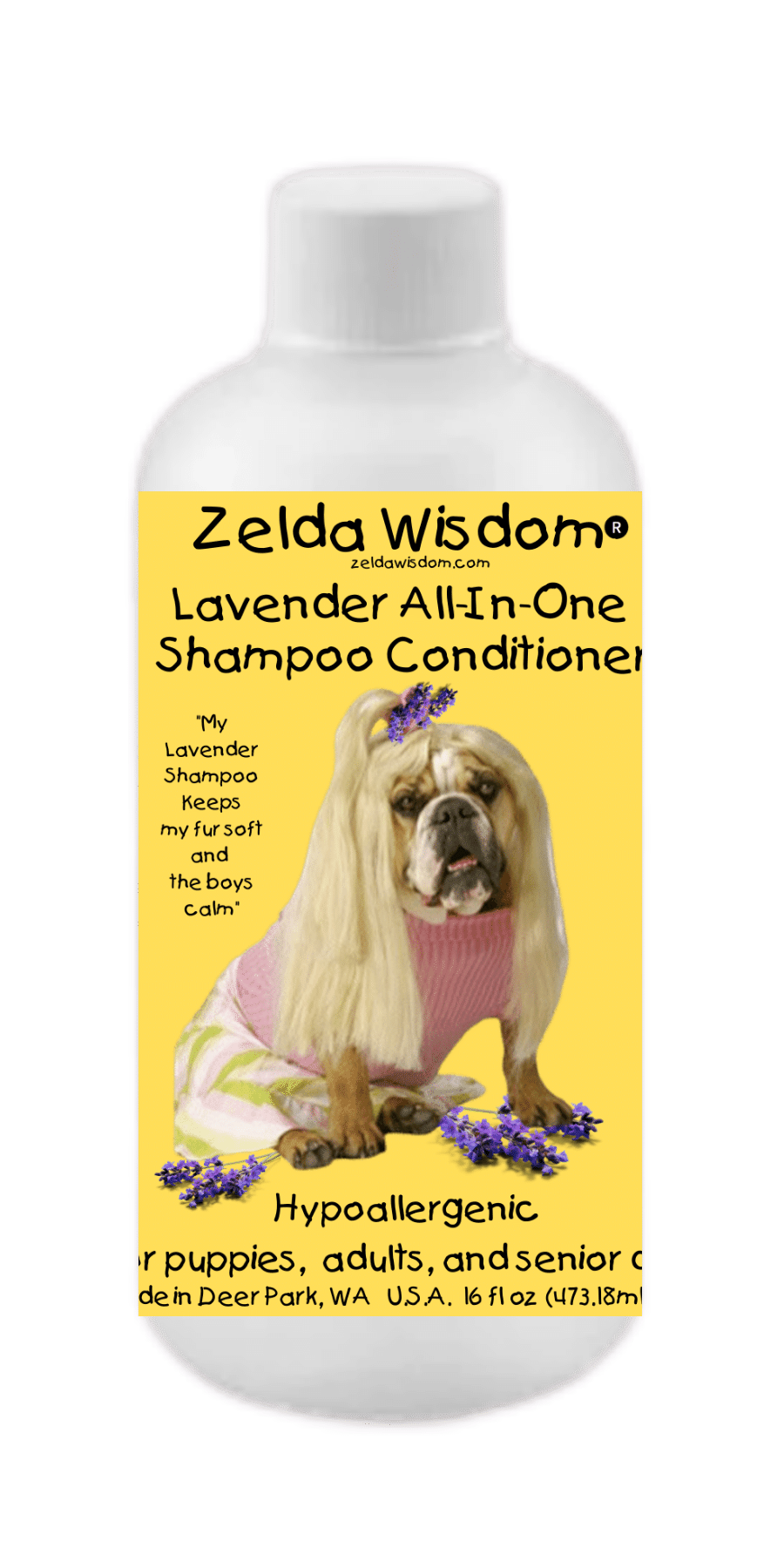 Shampoo Conditioner Lavender Hypoallergenic All-In-One  for Puppies, Adults, and Senior Dogs