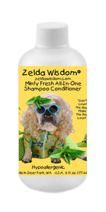 Shampoo Conditioner Minty Fresh Hypoallergenic  All-In-One for Puppies, Adults, and Senior Dogs