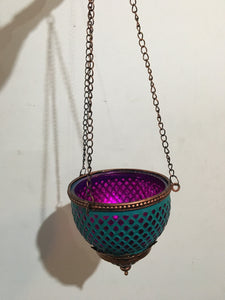 Hanging candle holder aqua