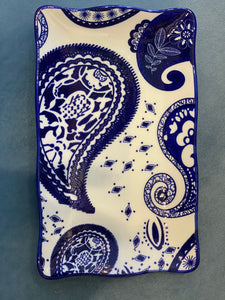 Blue Paisley Rectangle Plate