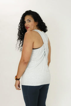 Essential Twisted Back Tank in Heather Gray