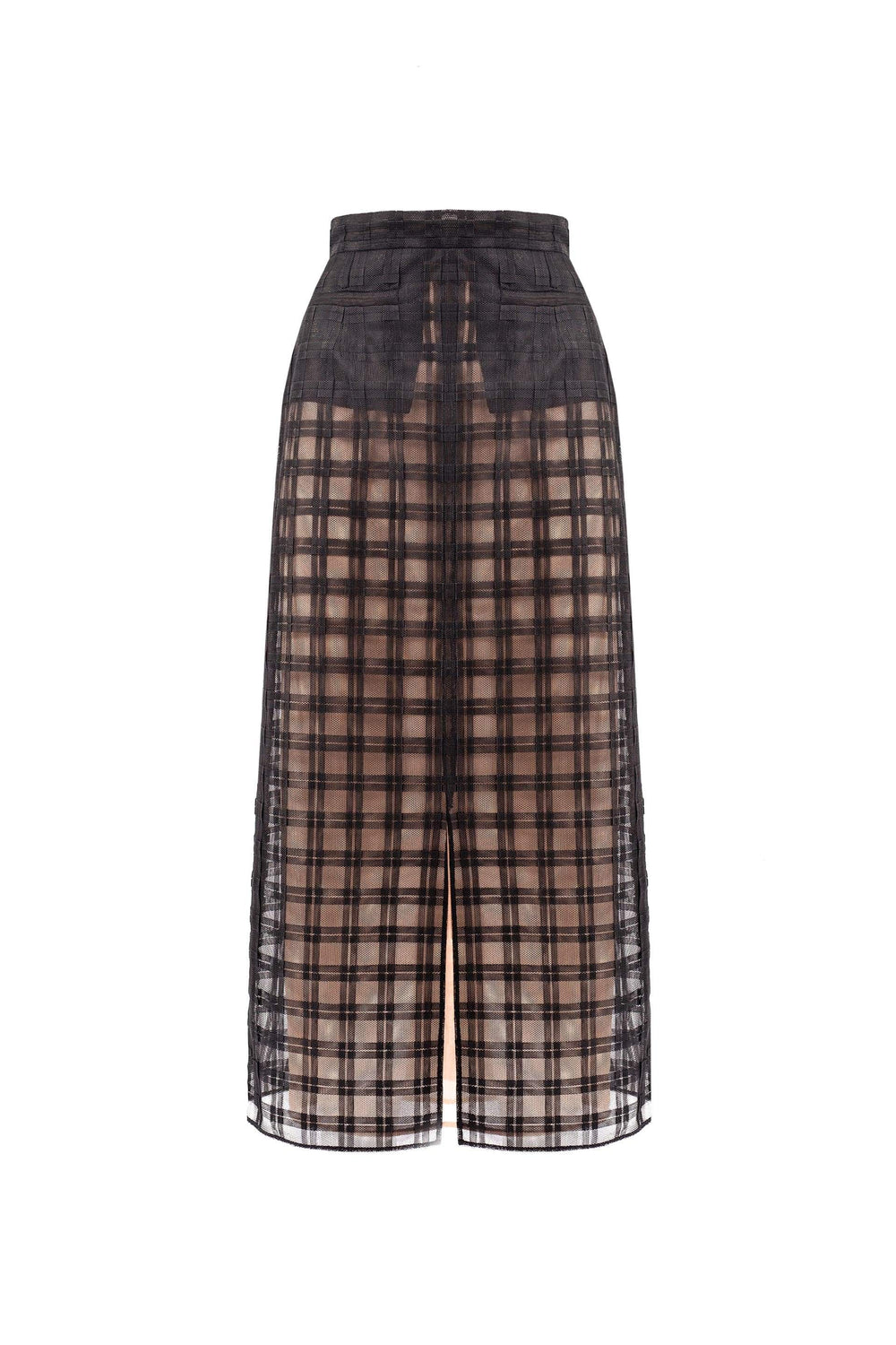 Checked tulle pencil skirt