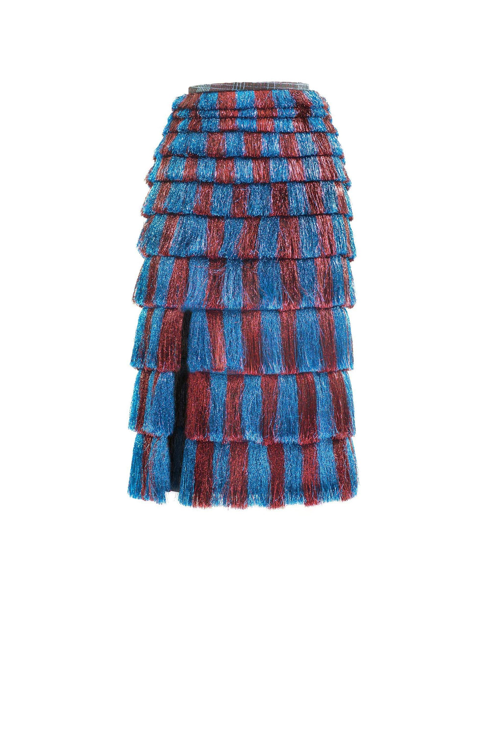 Tiered skirt with fringe