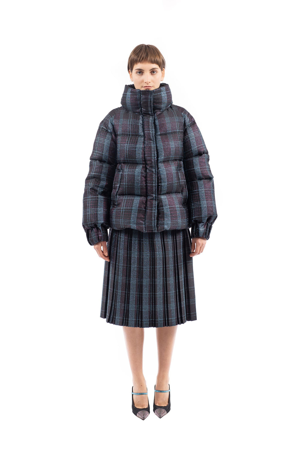 Gradient Lurex puffer jacket