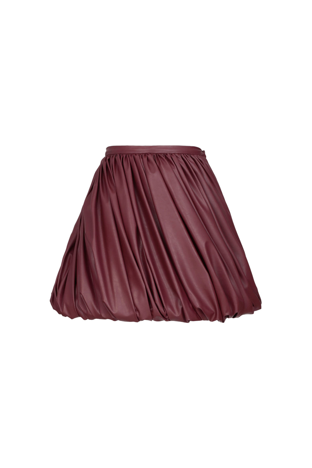 Draped Eco-Leather Mini Skirt