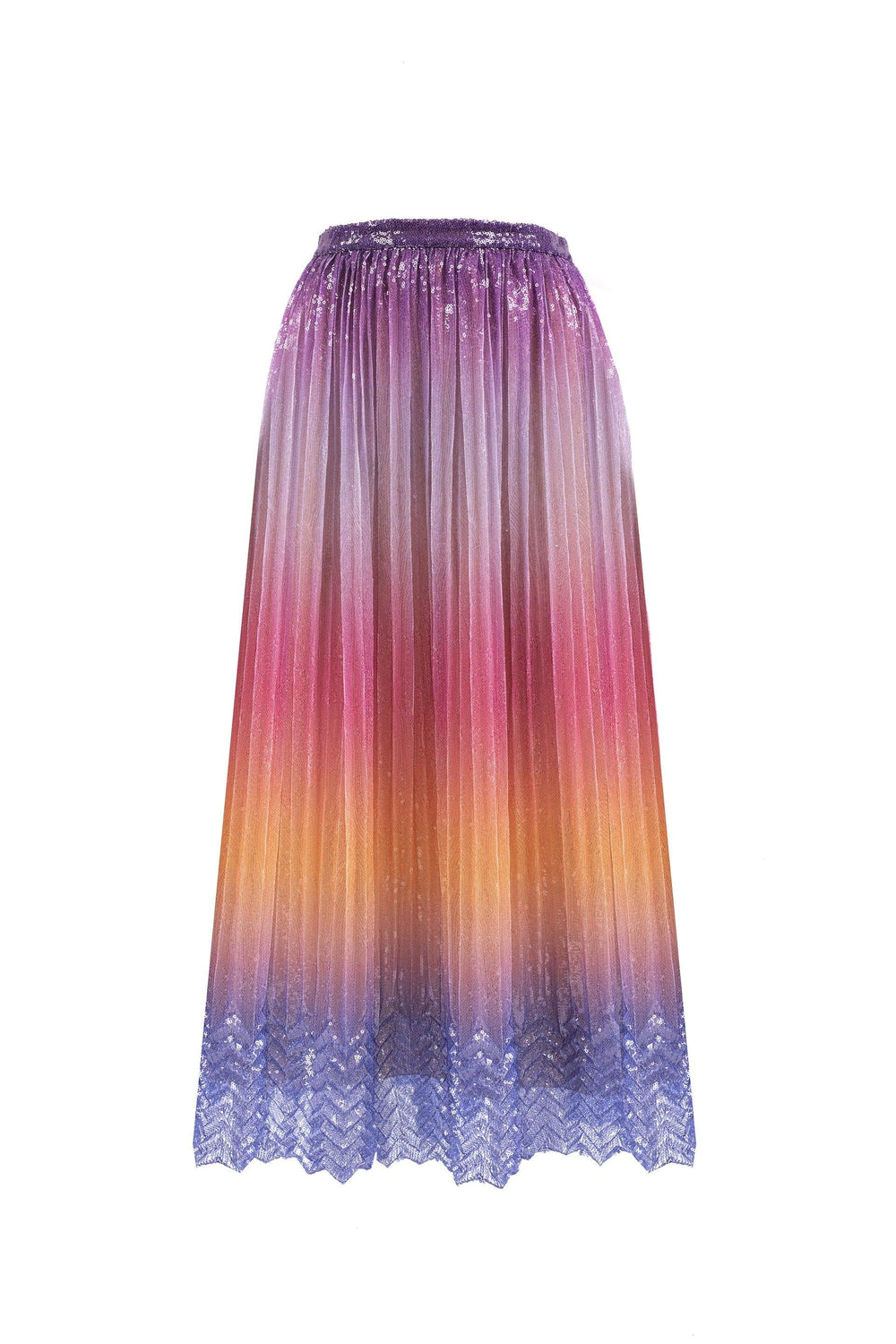 Pleated sequin midi skirt