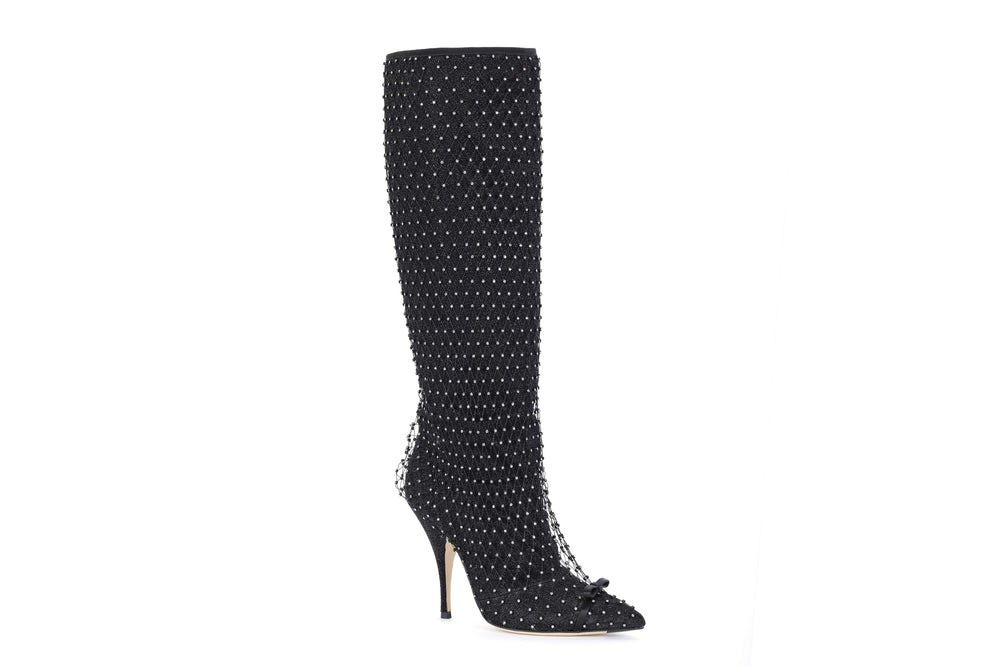 Boots with crystal mesh