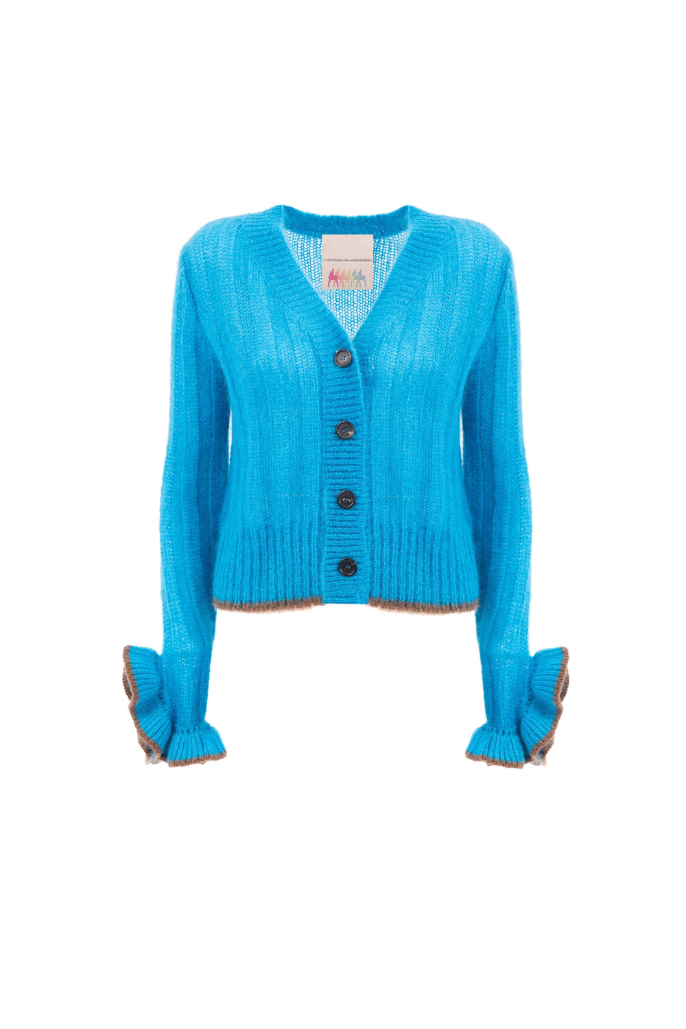 Wool and mohair cardigan with ruffles
