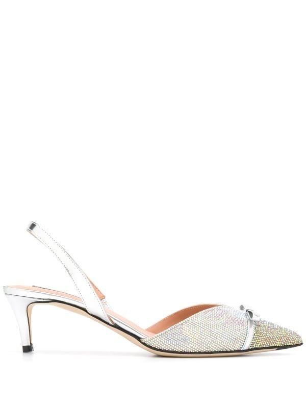 Crystal Embellished Slingback Pumps