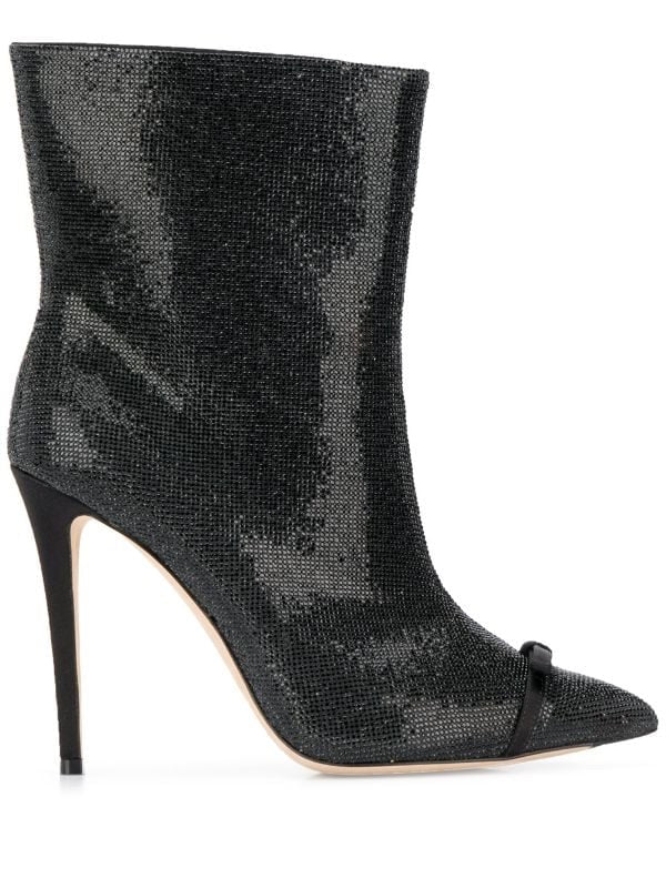 Pointy ankle boots with rhinestones
